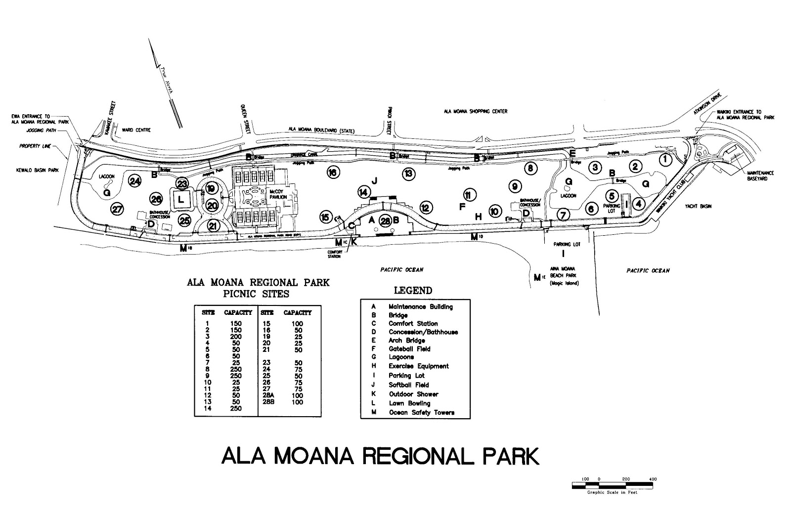 Ala Moana Beach Park Map Picnic Sites