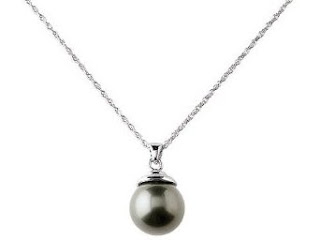 Sterling Silver Black Shell Pearl Pendant