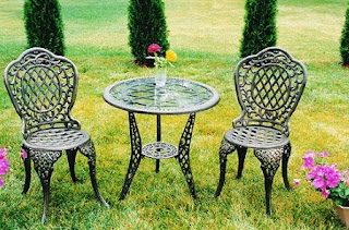Mississippi Bistro Set with Glass Antique Bronze