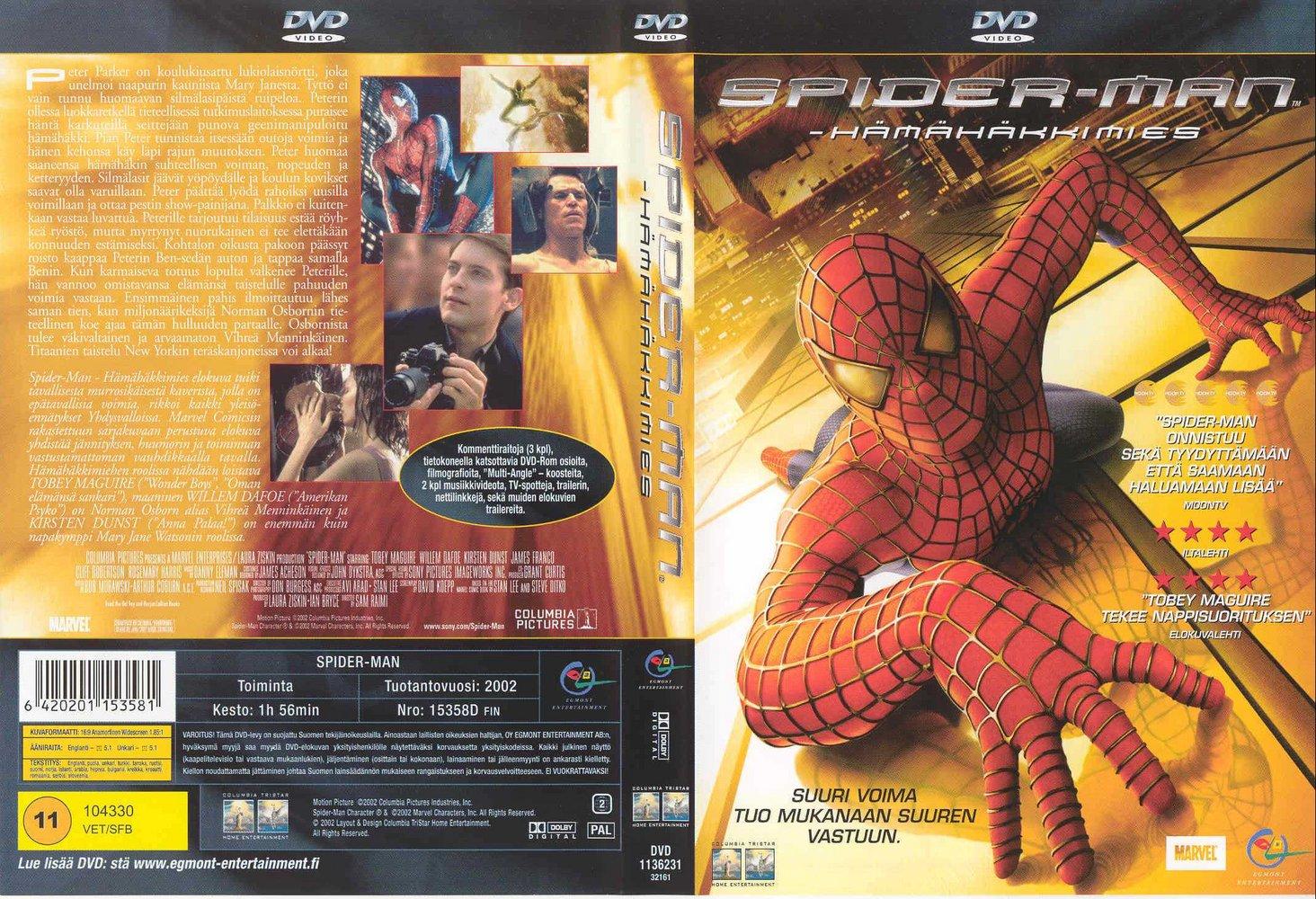 caratula spiderman 1: