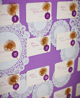 Doily Escort Card Display on The Knot