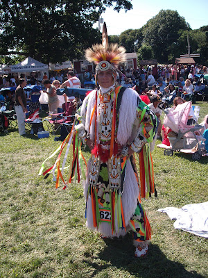 An upclose of an indian, Native American, at Shinnecock Pow Wow