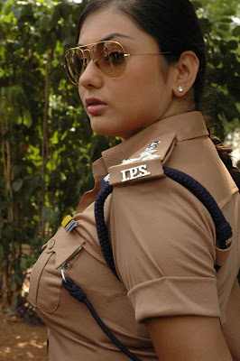 namitha in hot skin fit police dress to expose her hot breast sizes and thunder thighs shapes clearly