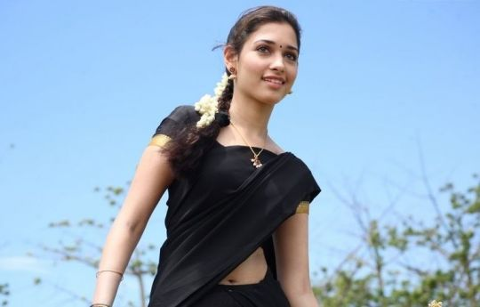 Tamanna in South Traditional Black Saree - Traditional Half Saree Outfit