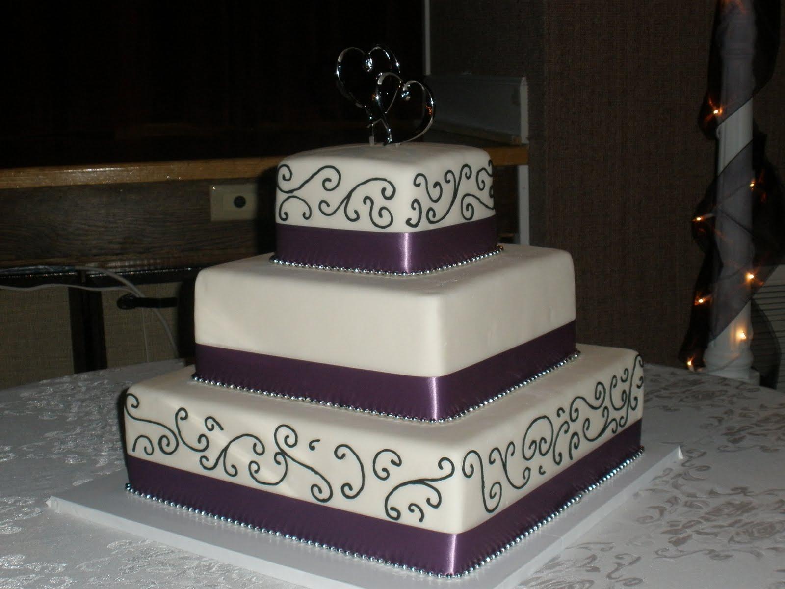 Black Purple Square Wedding Cake