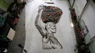 trabalho de Vik Muniz no filme Lixo Extraordinário