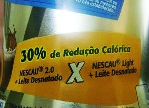 informação sobre redução calórica no rótulo de Nescau Light