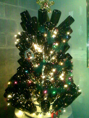 Christmas tree of wine bottles