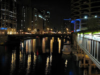 The Chicago River at night