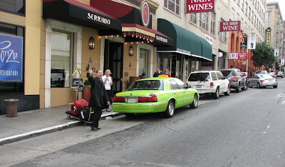 Fluorescent green cab at the hotel
