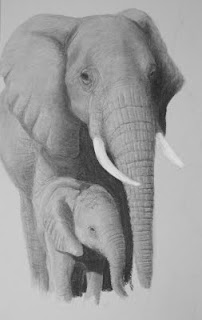 African elephant mother and baby drawing in progress