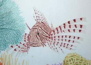 red lionfish colored pencil drawing
