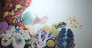 coral reef colored pencil drawing in progress