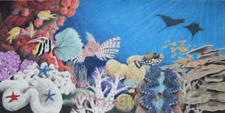 coral reef colored pencil drawing