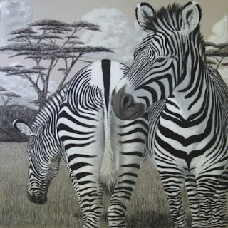 Grevy's zebras charcoal drawing