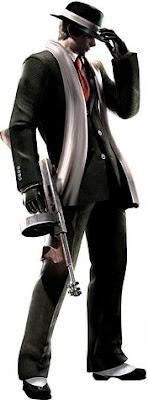 Leon Kennedy elegantemente vestido de gangster mafioso