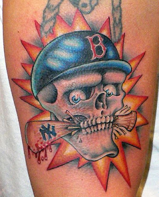 Kristy has the Red Sox socks tattooed on her hip. She has another tattoo;