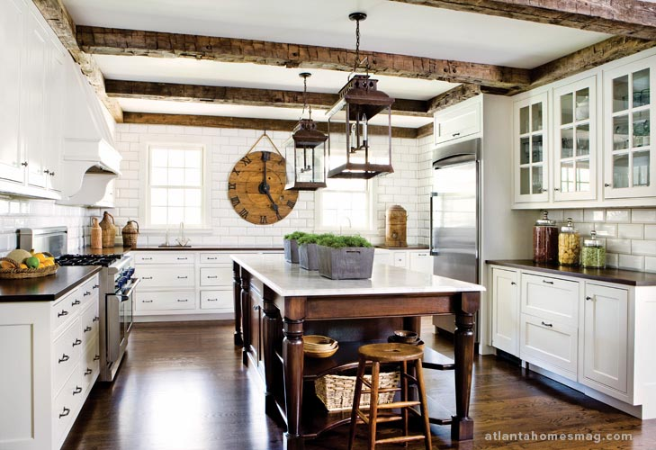 White Kitchen with Wood Beams
