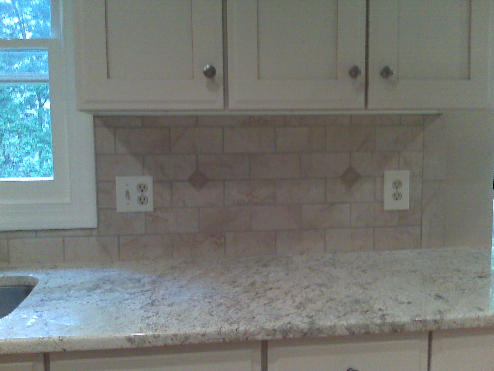 White Glass Subway Tile Kitchen Backsplash