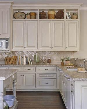 Whitehaven the kitchen backsplash for Adding storage above kitchen cabinets