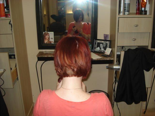 long red hair donated to locks of love. cute short bob.
