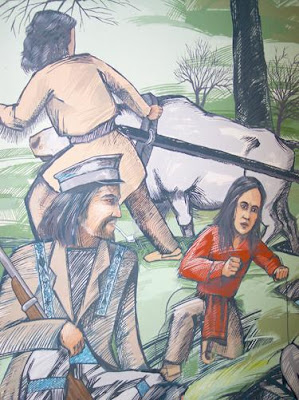 A detail of a mural painted by Ben Brien shows some of the heritage of Old Crossing and Treaty Park