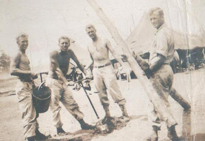 Making Camp in the Philipines-Gordon Short from St. Vincent on far right...