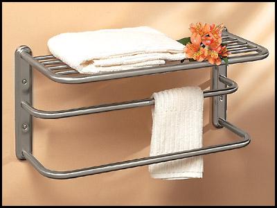 Satin Nickel Train Towel Rack With Double Bar