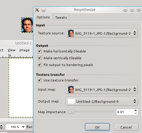 gimp texture resynthesis Re:how to install the 'resynth' plugin for the the gimp on windows xp pointing the unzip to the main gimp folder in program file should work (so not inside the plugin folder) anyway if you get any.