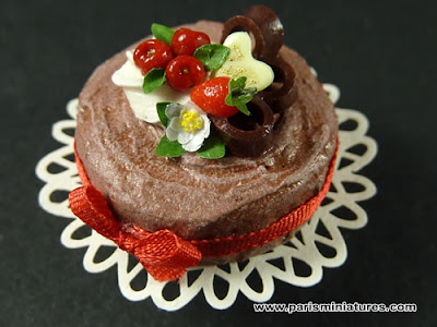 Miniature Cake - Summertime Chocolate Gateau with Red Fruit Decoration