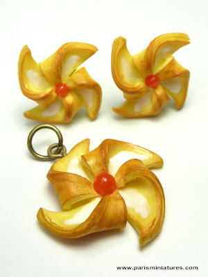 Pinwheel Danish Pastry Earrings and Pendant