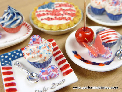 Miniature 4th July Candies and Sweet Treat - Emmaflam and Miniman - Paris Miniatures