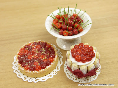 Miniature Cherry Charlotte, Bowl of Cherries and Cherry Tart