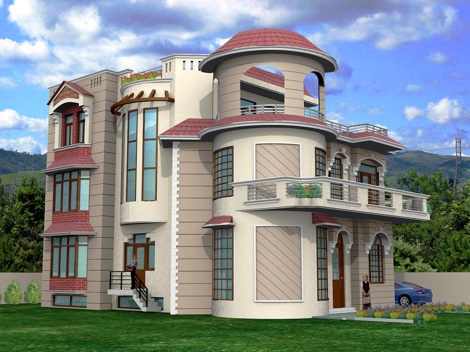 Front Elevation Tower : Modern front elevation of residential building joy