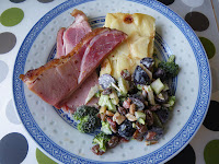 Easter Dinner: home-made ham, scalloped potatoes, salad of broccoli, grapes, and bacon