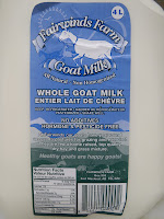 Goat's milk from Fairwinds Farm of Fort Macleod, Alberta