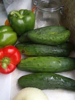 Cucumbers from Tipi Creek Farm and bell peppers from the Old Strathcona Farmers' Market