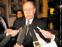 Minister of Education Roland Hache and his Director of Communciations, Valerie Kilfoil, January 15, 2010