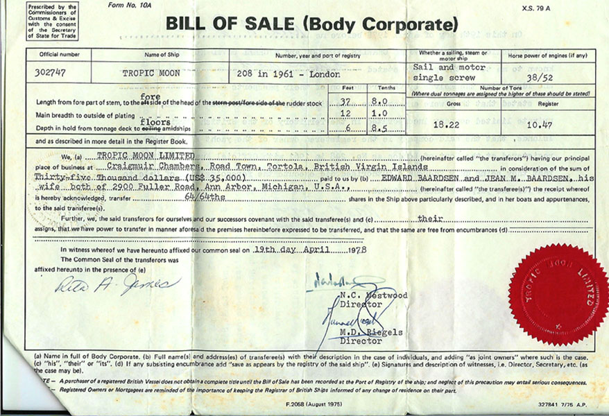 bill of sale   a k a  bill of