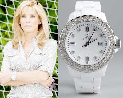 Sandra Bullock wears a ToyWatch Neon Plasteramic White with Crystal watch