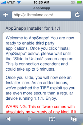 AppSnapp Offers One Step Jailbreak of 1.1.1 iPhones and iPod Touch
