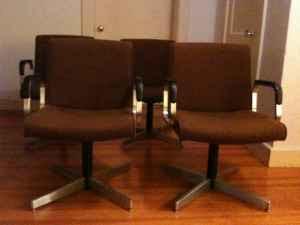 Mid Century Modern Aluminum Base Arm Chairs 50 Andover MA
