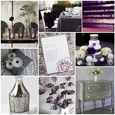 The motto of this wedding Eat drink and be glamourous 1 Purple Gray