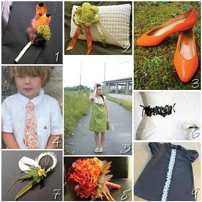 Etsy Wedding Wasabi Green Orange Peel Smokey Gray and Black Onyx