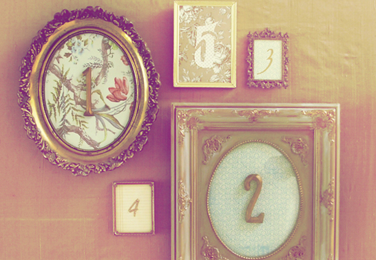 Vintage Framed Table Numbers via Project Wedding