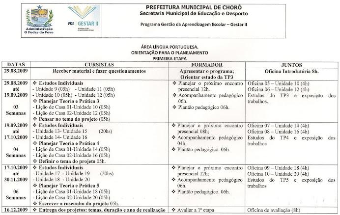 Planejamento 1ª etapa Língua Portuguesa
