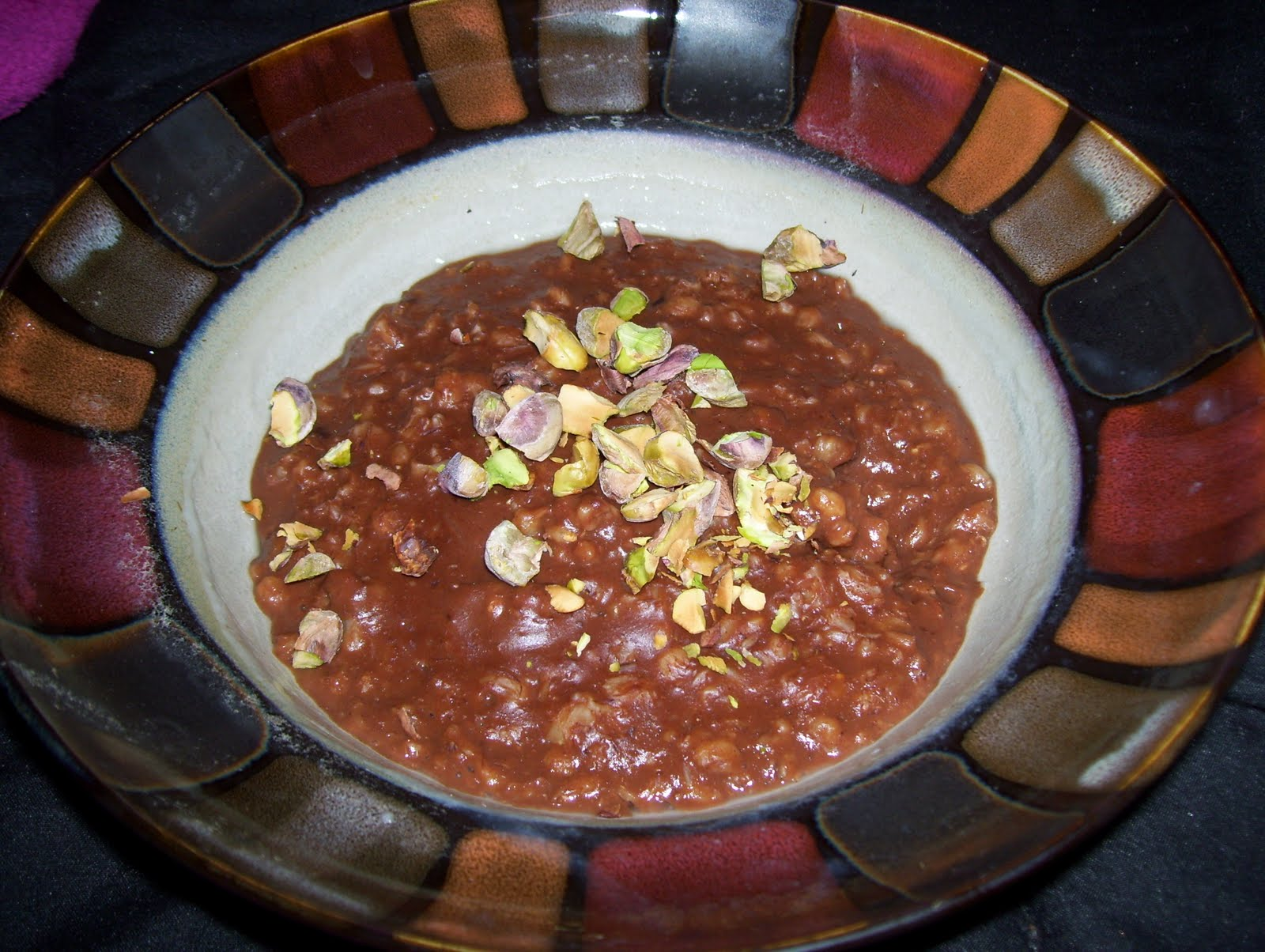Chocolate Oatmeal with Dried Cherries and Pistachios