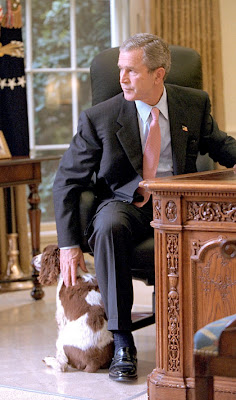 President Bush with Scottish Terriers