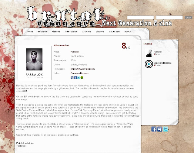 8/10 Review of Parralox - Isn't It Strange on Brutal Resonance