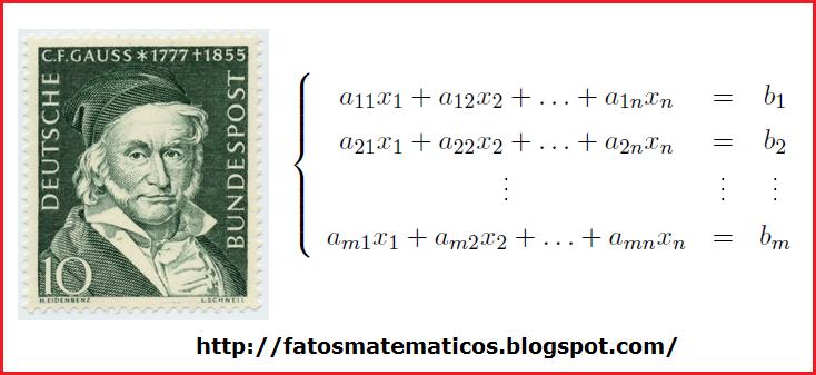 Gauss, um dos matemáticos mais renomados e a forma geral de um sistema linear.